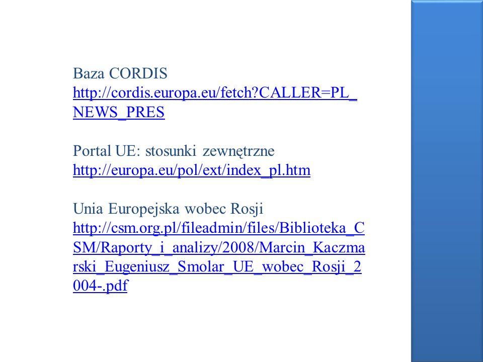 Baza CORDIS http://cordis.europa.eu/fetch?CALLER=PL_ NEWS_PRES Portal UE: stosunki zewnętrzne http://europa.eu/pol/ext/index_pl.htm Unia Europejska wo