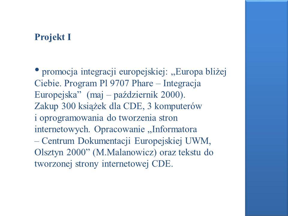 Projekt I promocja integracji europejskiej: Europa bliżej Ciebie. Program Pl 9707 Phare – Integracja Europejska (maj – październik 2000). Zakup 300 ks