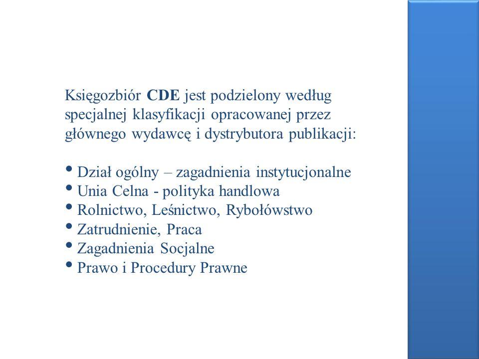 Księgozbiór CDE jest podzielony według specjalnej klasyfikacji opracowanej przez głównego wydawcę i dystrybutora publikacji: Dział ogólny – zagadnieni