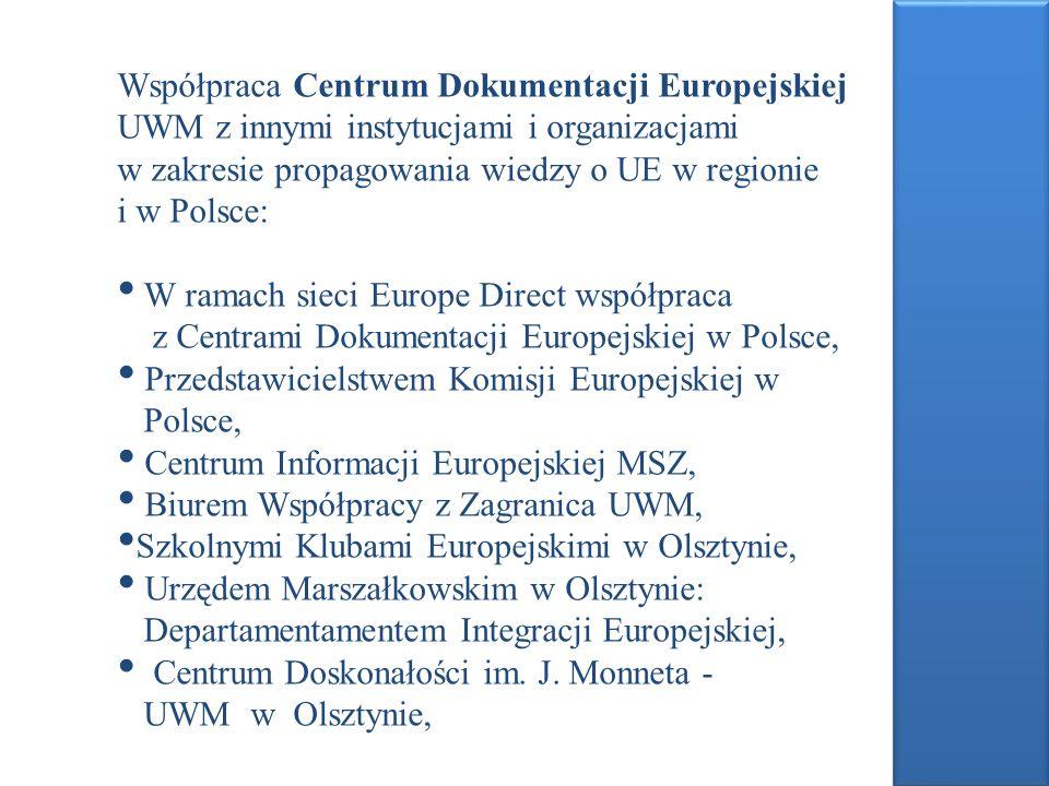 Współpraca Centrum Dokumentacji Europejskiej UWM z innymi instytucjami i organizacjami w zakresie propagowania wiedzy o UE w regionie i w Polsce: W ra