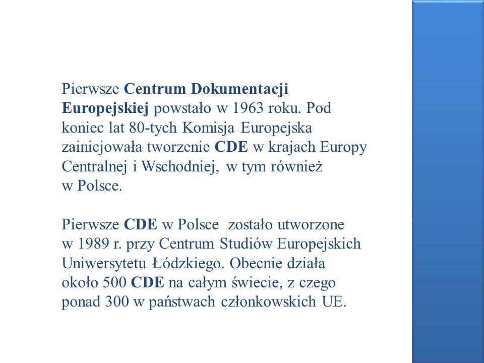 Centra Dokumentacji Europejskiej w Polsce: Centrum Dokumentacji Europejskiej –Uniwersytet Ekonomiczny w Krakowie http://kangur.ae.krakow.pl/biblioteka/cde/ http://kangur.ae.krakow.pl/biblioteka/cde Centrum Dokumentacji Europejskiej – Biblioteka Depozytowa Wspólnot Europejskich przy Centrum Informacji Europejskiej MSZ w Warszawie http://bdwe.ukie.gov.pl/www/bdwe.nsf/main?open http://bdwe.ukie.gov.pl/www/bdwe.nsf/main?open Centrum Dokumentacji Europejskiej – Biblioteka Śląska w Katowicach http://www.bs.katowice.pl/obibliotece/czytelnie/czyt_ cde.po.php http://www.bs.katowice.pl/obibliotece/czytelnie/czyt_ cde.po.php