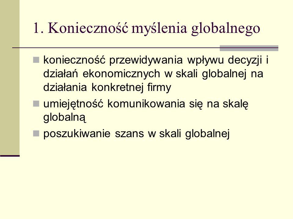 1. Konieczność myślenia globalnego konieczność przewidywania wpływu decyzji i działań ekonomicznych w skali globalnej na działania konkretnej firmy um