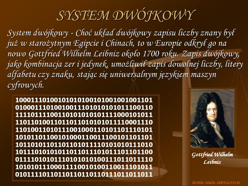ZESPÓŁ SZKÓŁ SZPITALNYCH System dwójkowy - Choć układ dwójkowy zapisu liczby znany był już w starożytnym Egipcie i Chinach, to w Europie odkrył go na