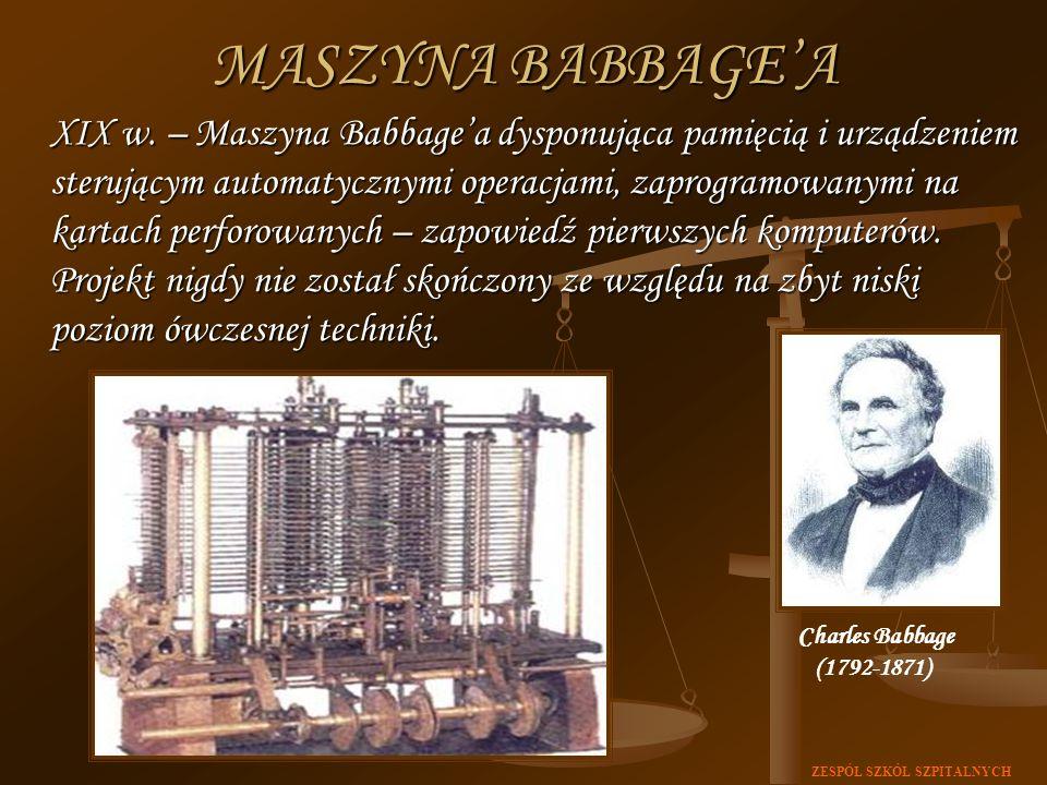 ZESPÓŁ SZKÓŁ SZPITALNYCH XIX w. – Maszyna Babbagea dysponująca pamięcią i urządzeniem sterującym automatycznymi operacjami, zaprogramowanymi na kartac