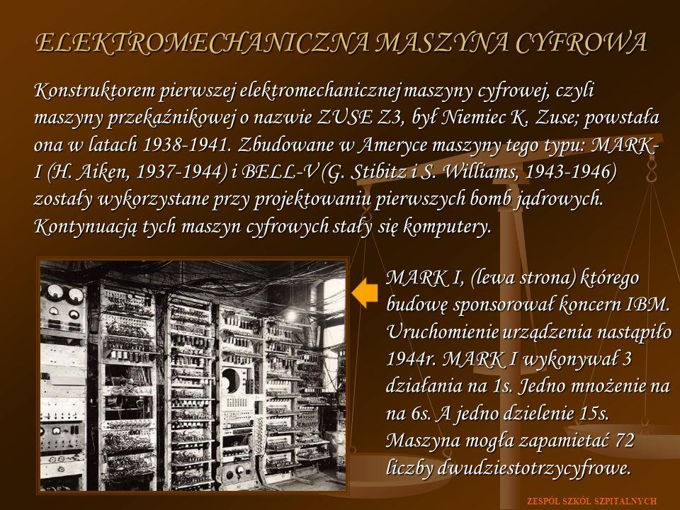 ZESPÓŁ SZKÓŁ SZPITALNYCH Konstruktorem pierwszej elektromechanicznej maszyny cyfrowej, czyli maszyny przekaźnikowej o nazwie ZUSE Z3, był Niemiec K. Z
