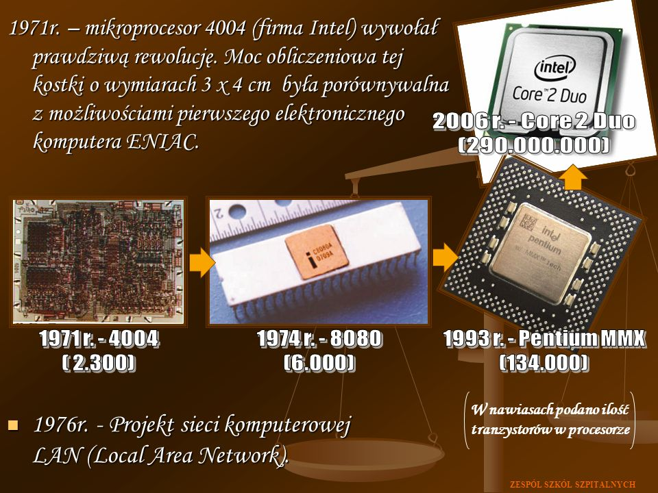 ZESPÓŁ SZKÓŁ SZPITALNYCH 1971r. – mikroprocesor 4004 (firma Intel) wywołał prawdziwą rewolucję. Moc obliczeniowa tej kostki o wymiarach 3 x 4 cm była