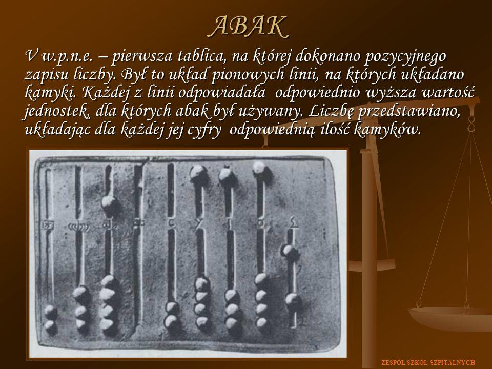ZESPÓŁ SZKÓŁ SZPITALNYCH V w.p.n.e. – pierwsza tablica, na której dokonano pozycyjnego zapisu liczby. Był to układ pionowych linii, na których układan