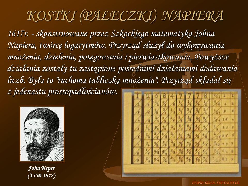 ZESPÓŁ SZKÓŁ SZPITALNYCH KOSTKI (PAŁECZKI) NAPIERA 1617r. - skonstruowane przez Szkockiego matematyka Johna Napiera, twórcę logarytmów. Przyrząd służy