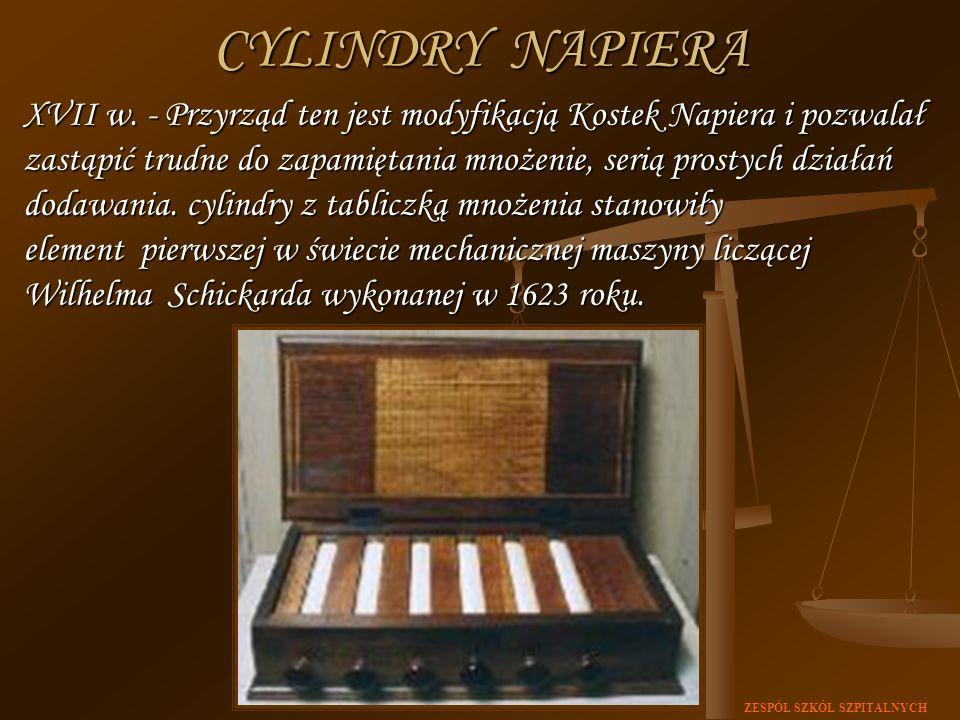 ZESPÓŁ SZKÓŁ SZPITALNYCH XVII w. - Przyrząd ten jest modyfikacją Kostek Napiera i pozwalał zastąpić trudne do zapamiętania mnożenie, serią prostych dz