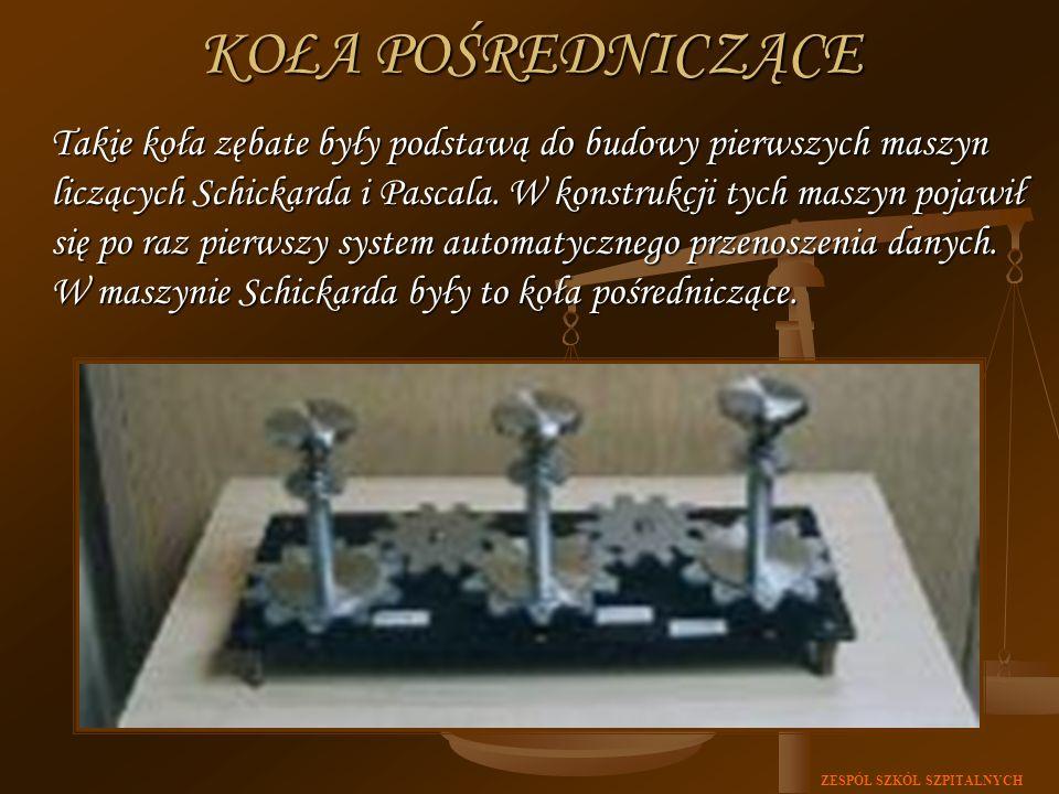 ZESPÓŁ SZKÓŁ SZPITALNYCH KOŁA POŚREDNICZĄCE Takie koła zębate były podstawą do budowy pierwszych maszyn liczących Schickarda i Pascala. W konstrukcji
