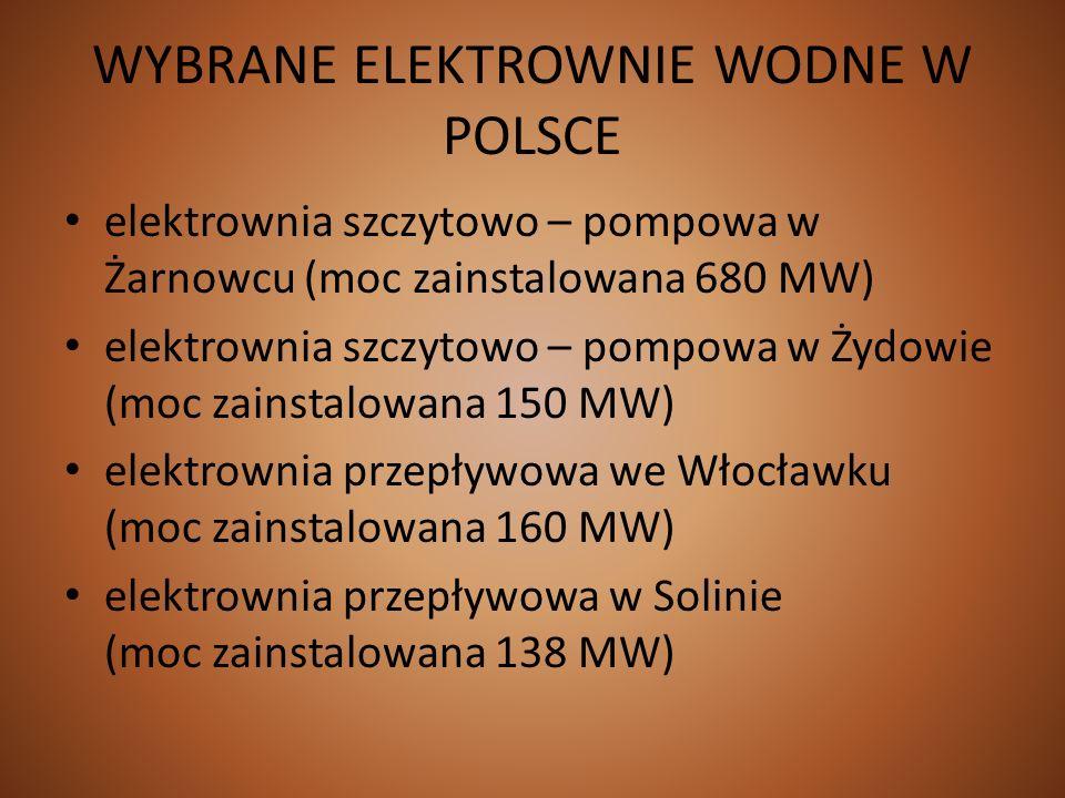 WYBRANE ELEKTROWNIE WODNE W POLSCE elektrownia szczytowo – pompowa w Żarnowcu (moc zainstalowana 680 MW) elektrownia szczytowo – pompowa w Żydowie (mo