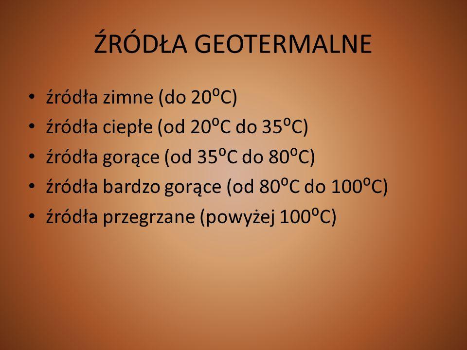 ŹRÓDŁA GEOTERMALNE źródła zimne (do 20C) źródła ciepłe (od 20C do 35C) źródła gorące (od 35C do 80C) źródła bardzo gorące (od 80C do 100C) źródła prze