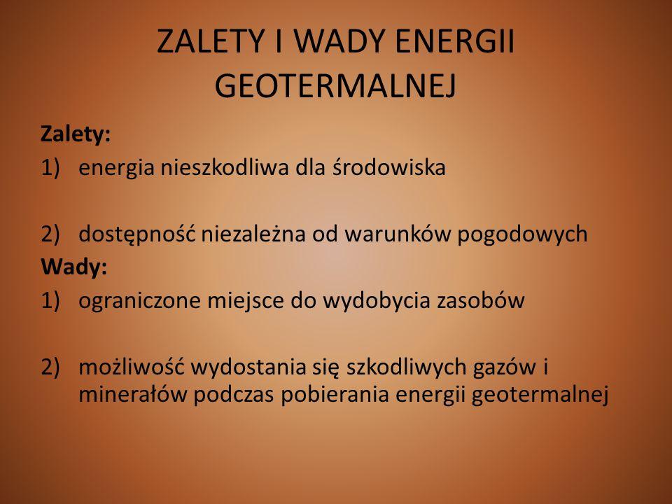 ZALETY I WADY ENERGII GEOTERMALNEJ Zalety: 1)energia nieszkodliwa dla środowiska 2)dostępność niezależna od warunków pogodowych Wady: 1)ograniczone mi