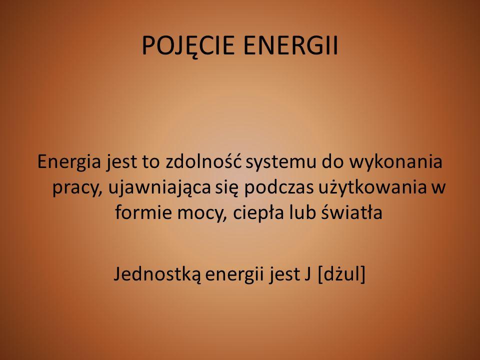 POJĘCIE ENERGII Energia jest to zdolność systemu do wykonania pracy, ujawniająca się podczas użytkowania w formie mocy, ciepła lub światła Jednostką e