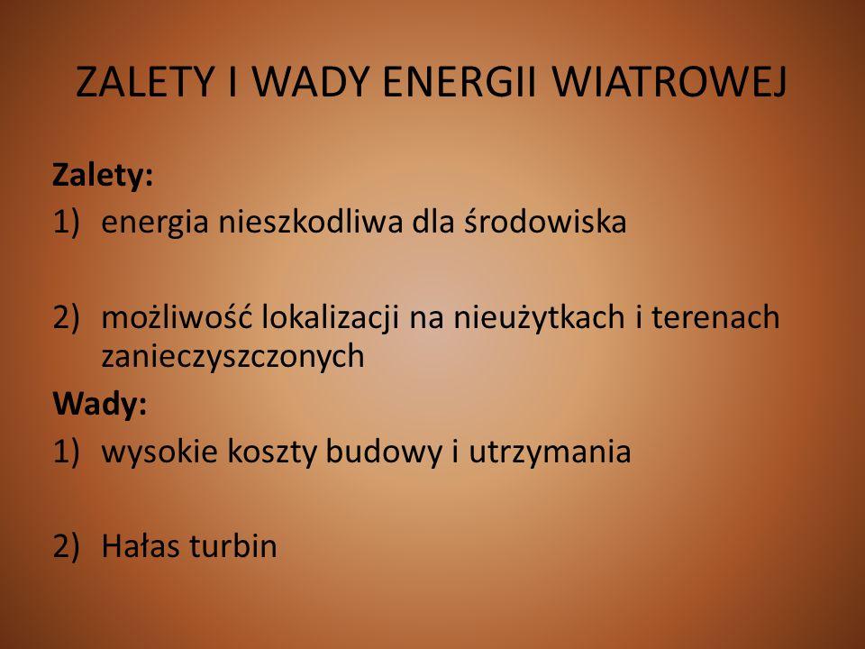 ZALETY I WADY ENERGII WIATROWEJ Zalety: 1)energia nieszkodliwa dla środowiska 2)możliwość lokalizacji na nieużytkach i terenach zanieczyszczonych Wady