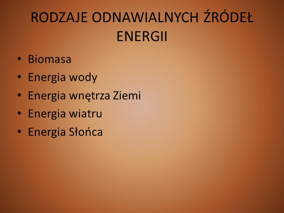 RODZAJE ODNAWIALNYCH ŹRÓDEŁ ENERGII Biomasa Energia wody Energia wnętrza Ziemi Energia wiatru Energia Słońca
