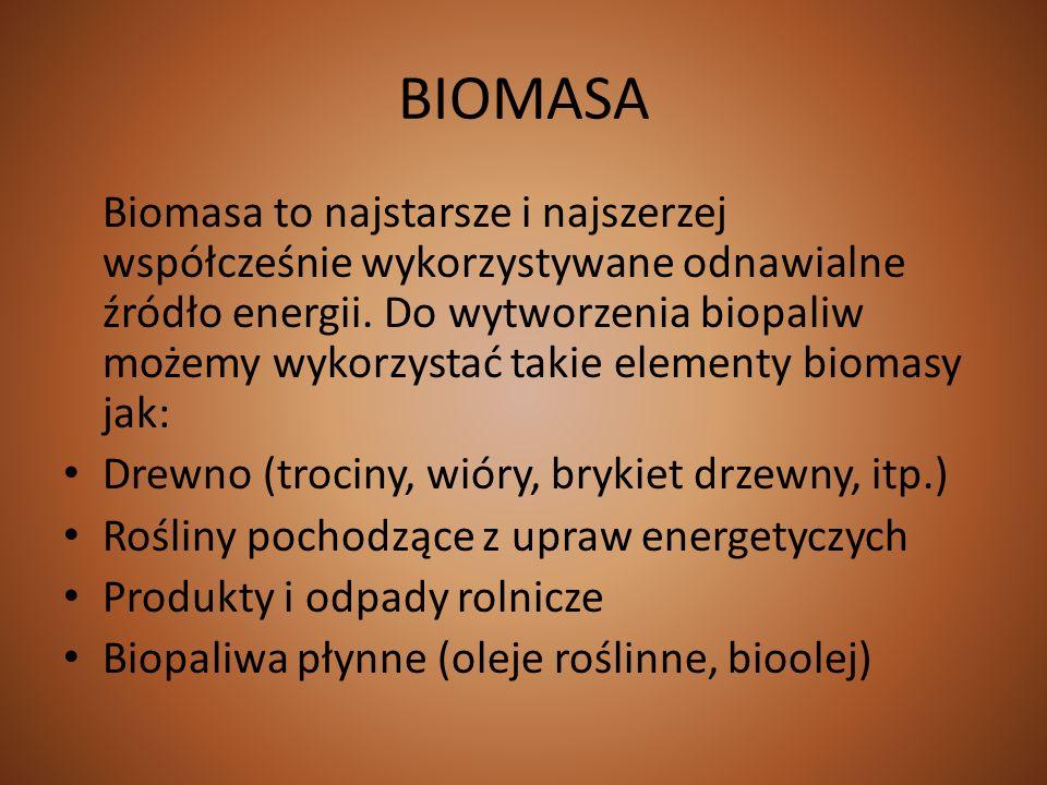 BIOMASA Biomasa to najstarsze i najszerzej współcześnie wykorzystywane odnawialne źródło energii. Do wytworzenia biopaliw możemy wykorzystać takie ele
