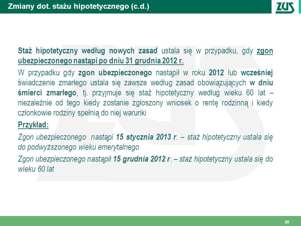 Zmiany dot. stażu hipotetycznego (c.d.) Staż hipotetyczny według nowych zasad ustala się w przypadku, gdy zgon ubezpieczonego nastąpi po dniu 31 grudn