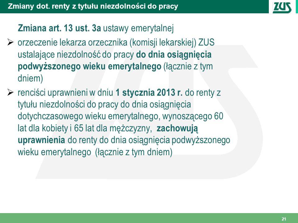 Zmiany dot. renty z tytułu niezdolności do pracy Zmiana art. 13 ust. 3a ustawy emerytalnej orzeczenie lekarza orzecznika (komisji lekarskiej) ZUS usta