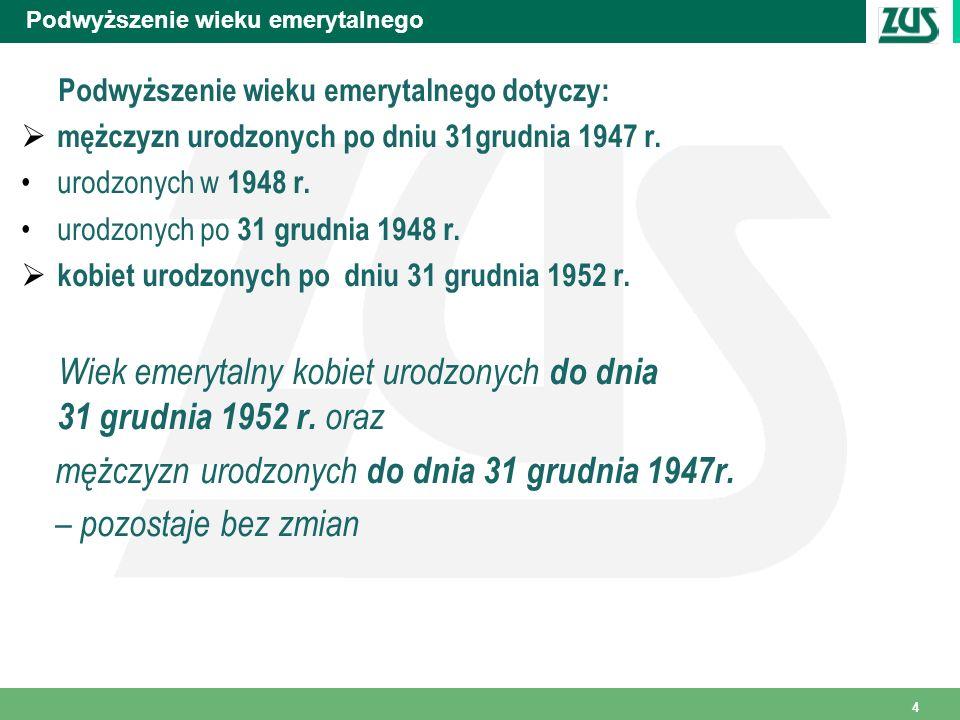 45 Okresowa emerytura kapitałowa Przykład Kobieta, urodzona w dniu 16.04.1949 r., ma ustalone od 1.10.2009 r.