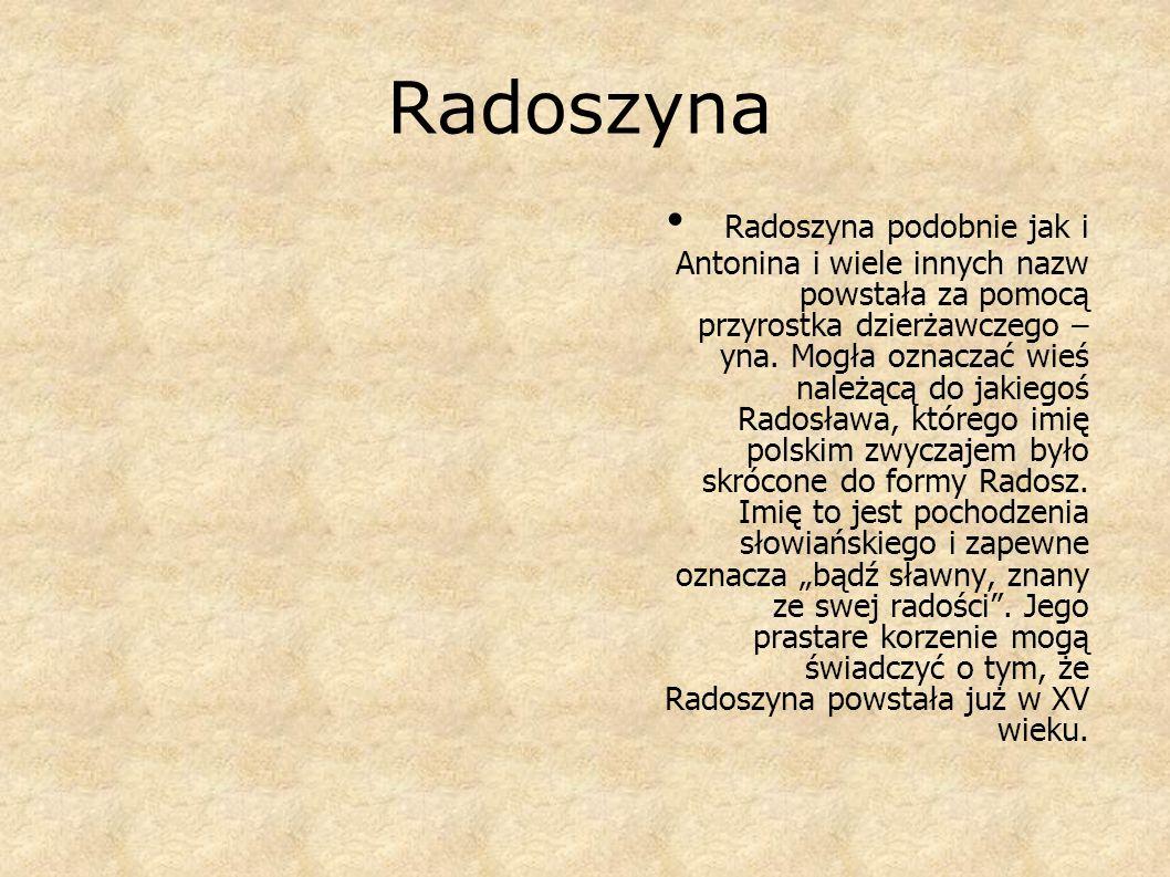 Radoszyna R adoszyna podobnie jak i Antonina i wiele innych nazw powstała za pomocą przyrostka dzierżawczego – yna. Mogła oznaczać wieś należącą do ja