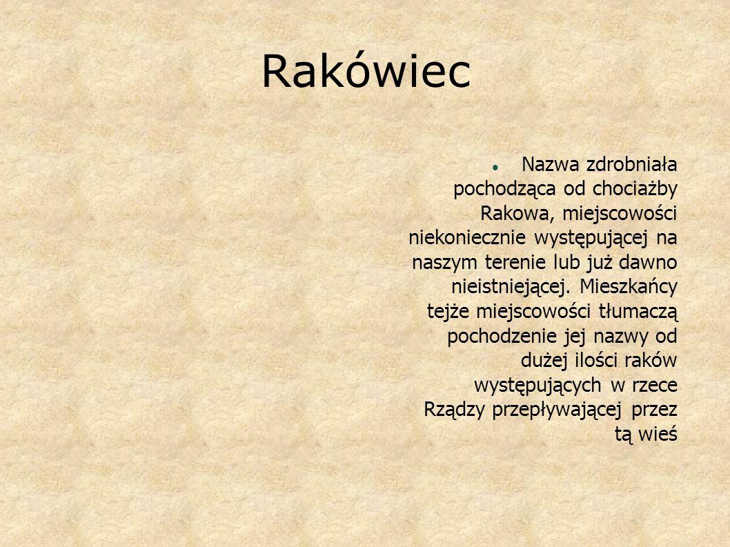 Rakówiec Nazwa zdrobniała pochodząca od chociażby Rakowa, miejscowości niekoniecznie występującej na naszym terenie lub już dawno nieistniejącej. Mies
