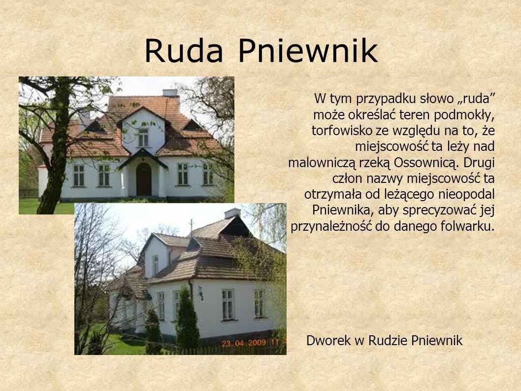 Ruda Pniewnik W tym przypadku słowo ruda może określać teren podmokły, torfowisko ze względu na to, że miejscowość ta leży nad malowniczą rzeką Ossown