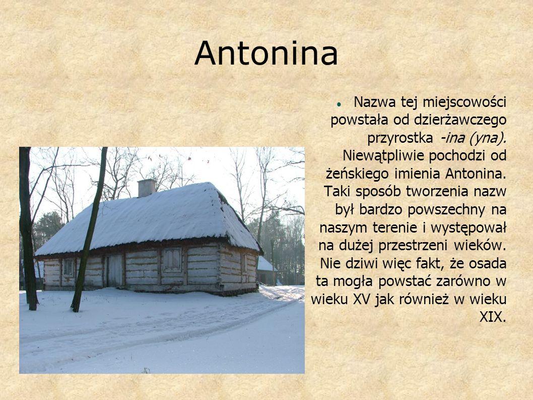 Antonina Nazwa tej miejscowości powstała od dzierżawczego przyrostka -ina (yna). Niewątpliwie pochodzi od żeńskiego imienia Antonina. Taki sposób twor