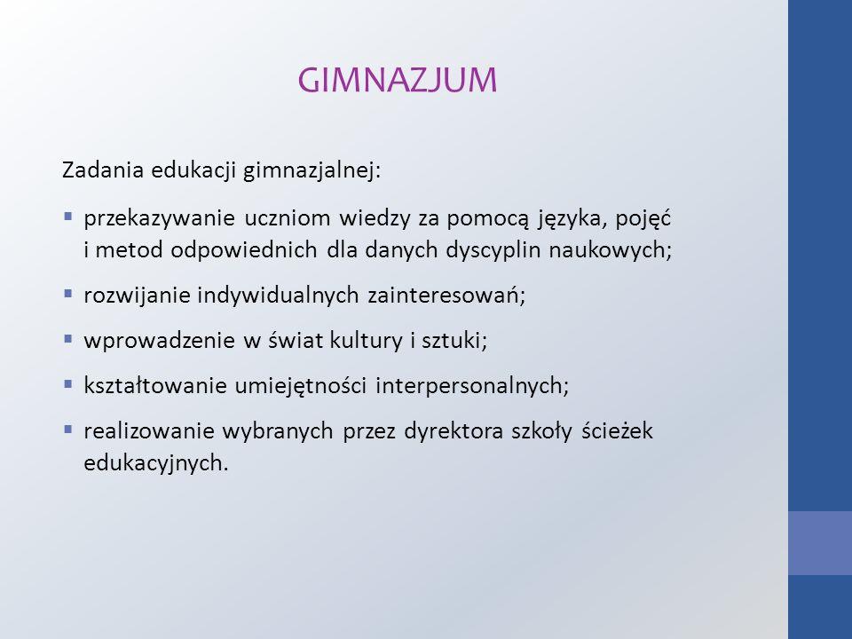 GIMNAZJUM Zadania edukacji gimnazjalnej: przekazywanie uczniom wiedzy za pomocą języka, pojęć i metod odpowiednich dla danych dyscyplin naukowych; roz