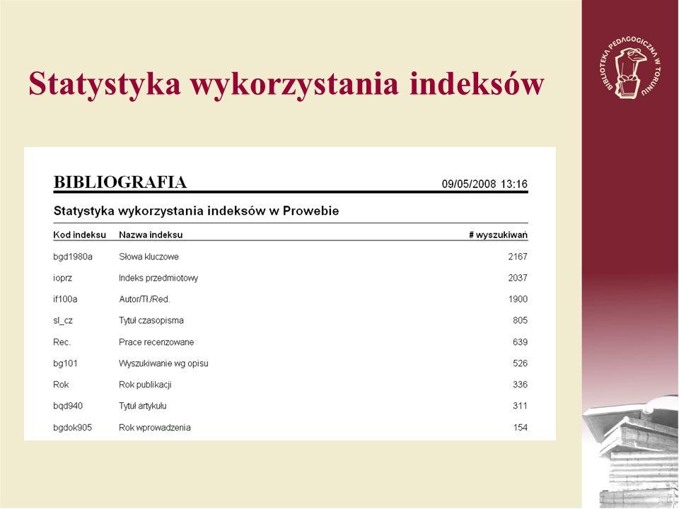 Statystyka wykorzystania indeksów