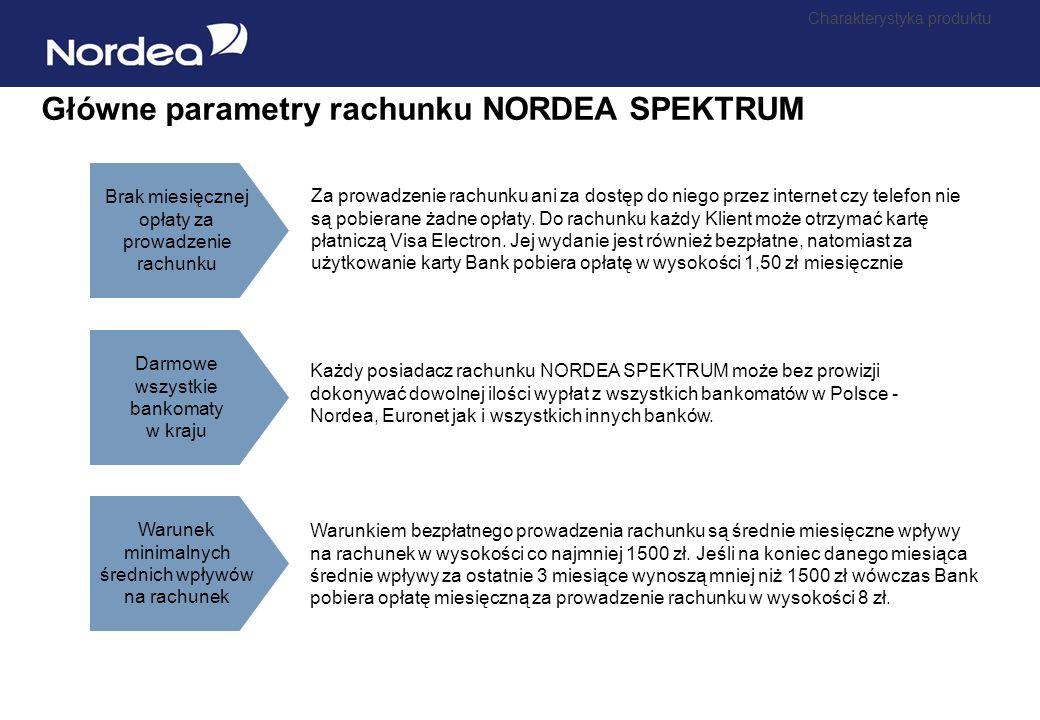 Dlaczego rachunek Nordea Spektrum ? Niskie koszty obsługi rachunku Koszt obsługi rachunku NORDEA SPEKTRUM jest znacznie niższy niż w innych bankach: B