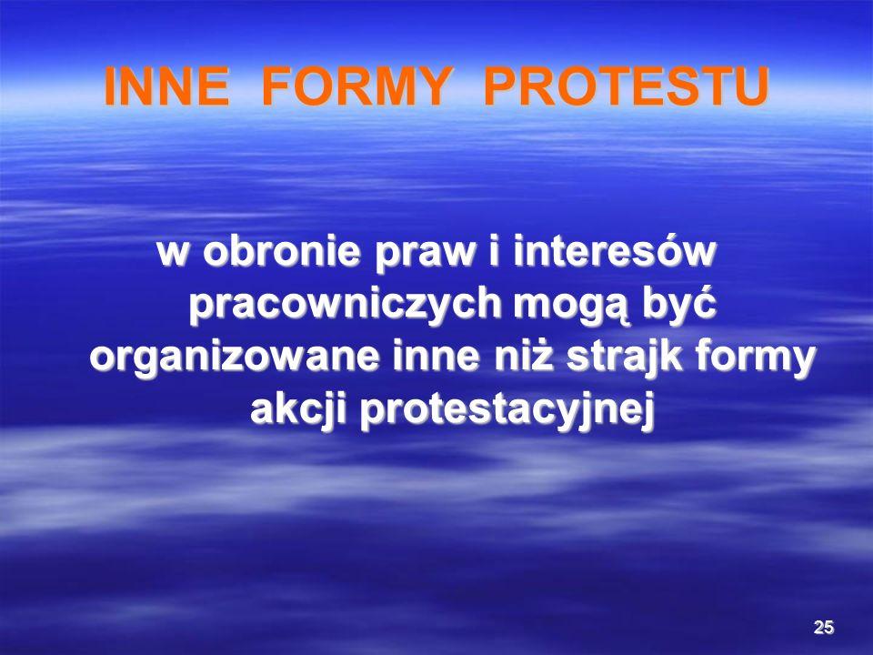 25 INNE FORMY PROTESTU w obronie praw i interesów pracowniczych mogą być organizowane inne niż strajk formy akcji protestacyjnej