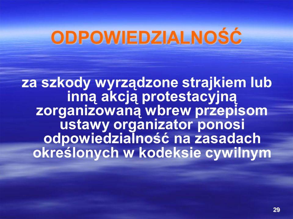 29 ODPOWIEDZIALNOŚĆ za szkody wyrządzone strajkiem lub inną akcją protestacyjną zorganizowaną wbrew przepisom ustawy organizator ponosi odpowiedzialno