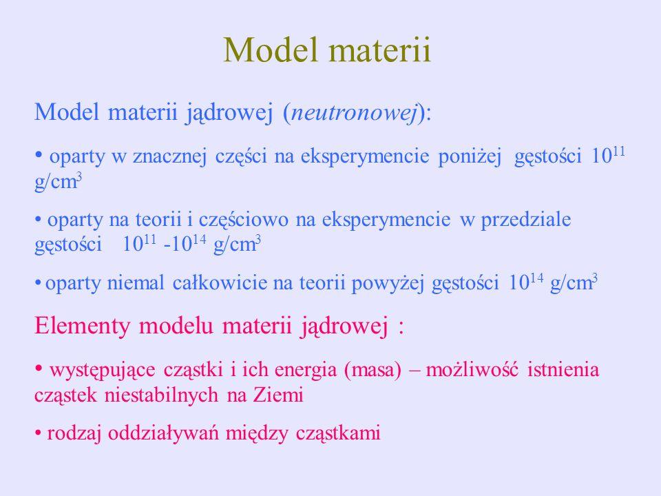 Model materii Model materii jądrowej (neutronowej): oparty w znacznej części na eksperymencie poniżej gęstości 10 11 g/cm 3 oparty na teorii i częścio