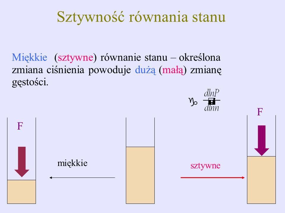 Sztywność równania stanu Miękkie (sztywne) równanie stanu – określona zmiana ciśnienia powoduje dużą (małą) zmianę gęstości. miękkie sztywne F F g =