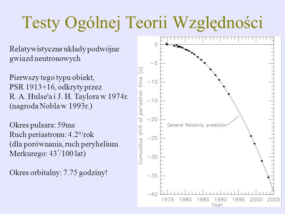 Relatywistyczne układy podwójne gwiazd neutronowych Pierwszy tego typu obiekt, PSR 1913+16, odkryty przez R. A. Hulse'a i J. H. Taylora w 1974r. (nagr