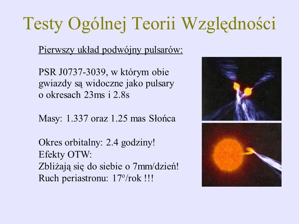 Pierwszy układ podwójny pulsarów: PSR J0737-3039, w którym obie gwiazdy są widoczne jako pulsary o okresach 23ms i 2.8s Masy: 1.337 oraz 1.25 mas Słoń