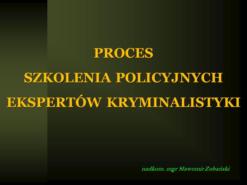 PROCES SZKOLENIA POLICYJNYCH EKSPERTÓW KRYMINALISTYKI nadkom. mgr Sławomir Zubański