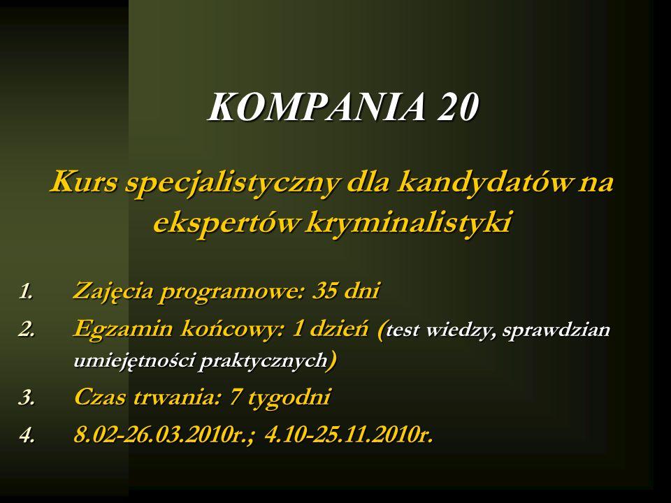 KOMPANIA 20 Kurs specjalistyczny dla kandydatów na ekspertów kryminalistyki 1. Zajęcia programowe: 35 dni 2. Egzamin końcowy: 1 dzień ( test wiedzy, s