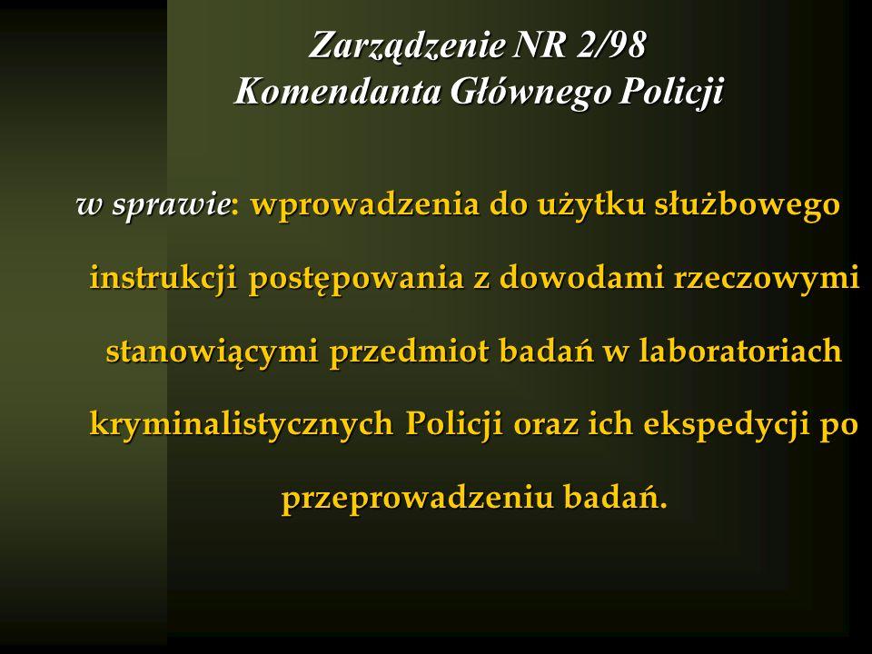 Zarządzenie NR 2/98 Komendanta Głównego Policji w sprawie wprowadzenia do użytku służbowego instrukcji postępowania z dowodami rzeczowymi stanowiącymi