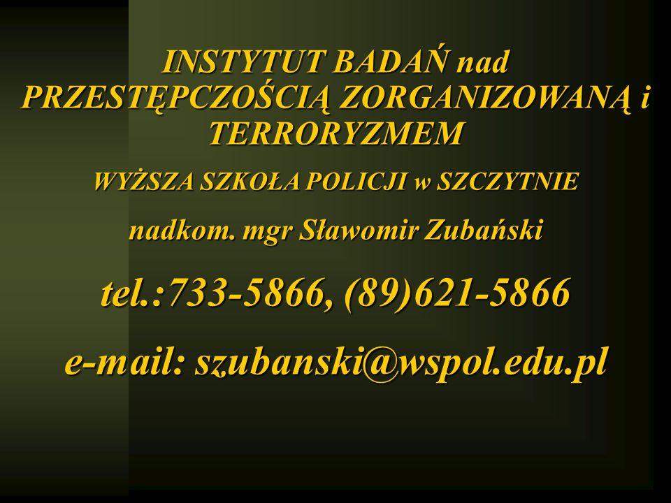 INSTYTUT BADAŃ nad PRZESTĘPCZOŚCIĄ ZORGANIZOWANĄ i TERRORYZMEM WYŻSZA SZKOŁA POLICJI w SZCZYTNIE nadkom. mgr Sławomir Zubański tel.:733-5866, (89)621-