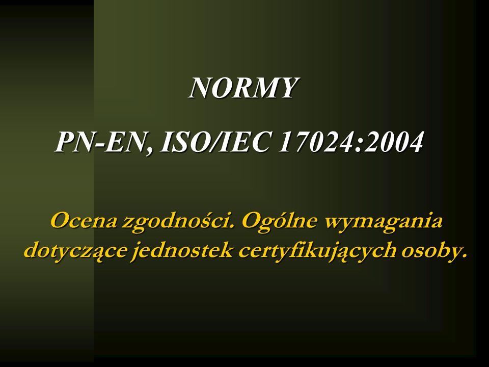 NORMY PN-EN, ISO/IEC 17024:2004 Ocena zgodności. Ogólne wymagania dotyczące jednostek certyfikujących osoby.