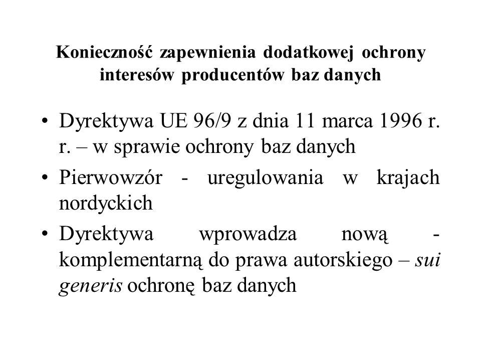 Konieczność zapewnienia dodatkowej ochrony interesów producentów baz danych Dyrektywa UE 96/9 z dnia 11 marca 1996 r. r. – w sprawie ochrony baz danyc