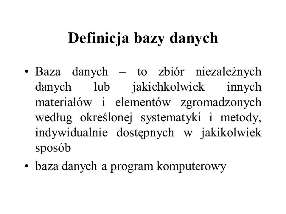 Definicja bazy danych Baza danych – to zbiór niezależnych danych lub jakichkolwiek innych materiałów i elementów zgromadzonych według określonej syste