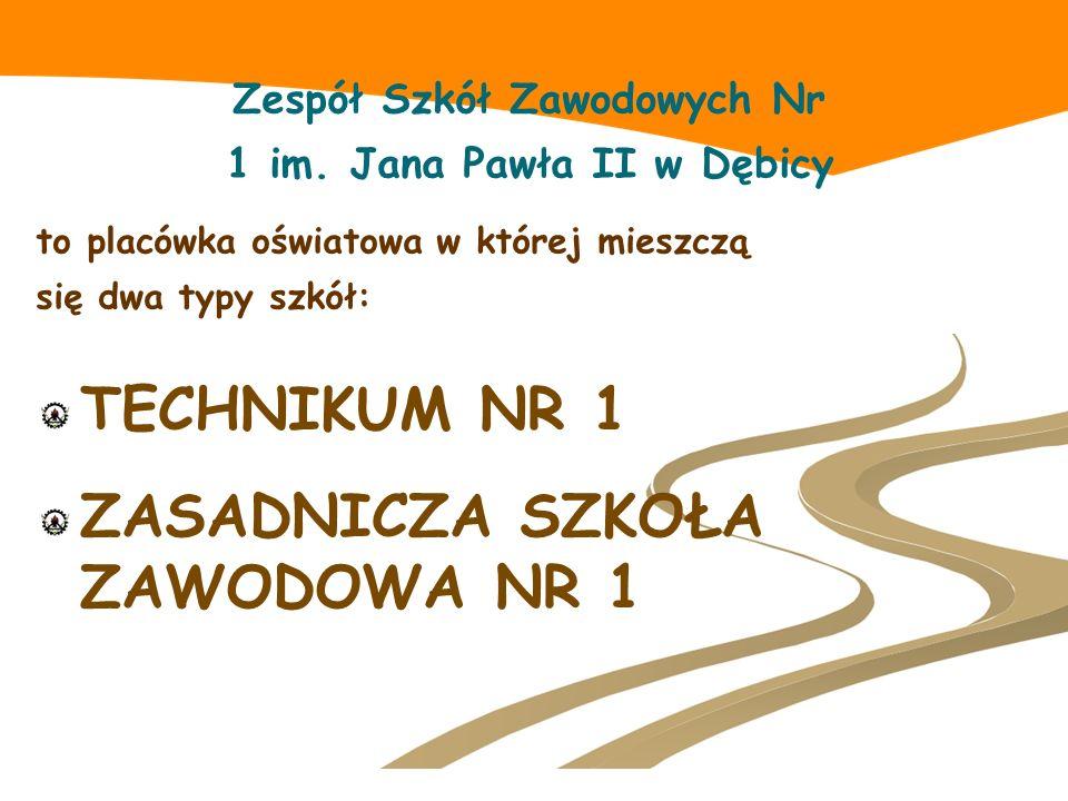 Zespół Szkół Zawodowych Nr 1 im. Jana Pawła II w Dębicy to placówka oświatowa w której mieszczą się dwa typy szkół: TECHNIKUM NR 1 ZASADNICZA SZKOŁA Z