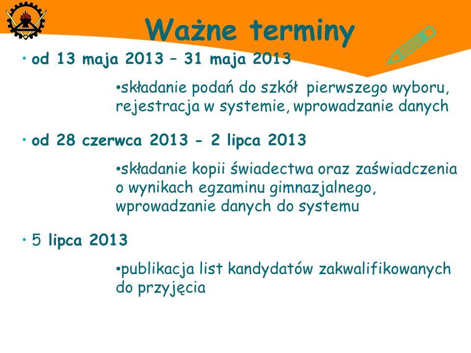 Ważne terminy od 13 maja 2013 – 31 maja 2013 składanie podań do szkół pierwszego wyboru, rejestracja w systemie, wprowadzanie danych od 28 czerwca 201