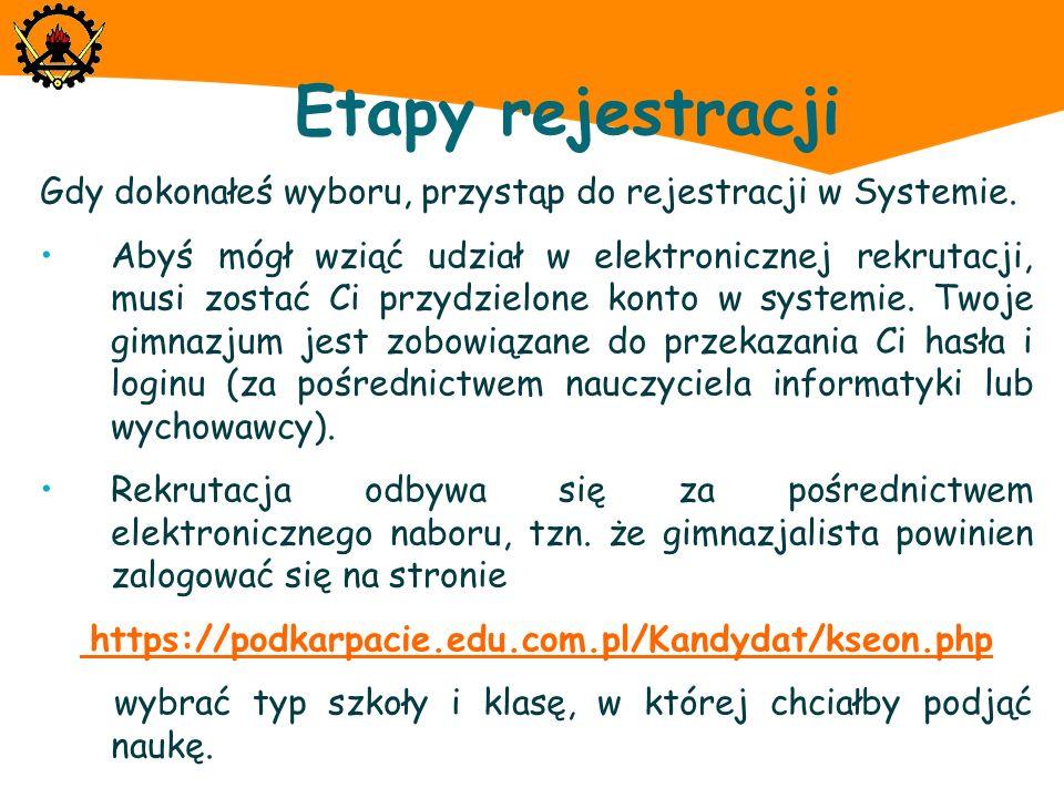 Etapy rejestracji Następnie zaloguj się na stronie internetowej Systemu.