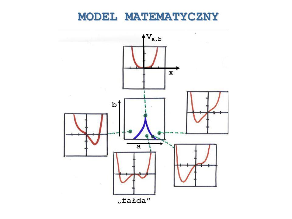 MODEL MATEMATYCZNY Potencjał Zbiór punktów definiujących ekstremum potencjału = Zbiór katastrofy Warunek ekstremum Zbiór punktów krytycznych Zbiór bifurkacyjny określony przez warunek istnienia dwóch pierwiastków wielomianu W(x) Katastrofa szpica
