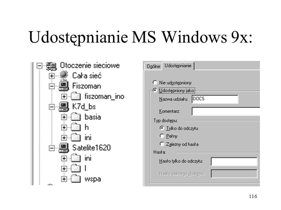 116 Udostępnianie MS Windows 9x: