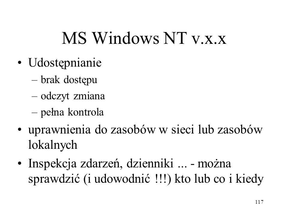 117 MS Windows NT v.x.x Udostępnianie –brak dostępu –odczyt zmiana –pełna kontrola uprawnienia do zasobów w sieci lub zasobów lokalnych Inspekcja zdar